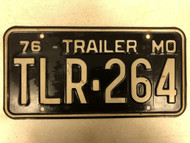 1976 MISSOURI Trailer License Plate TLR-264 Cool # TLR= Trailer