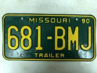 1990 MISSOURI Trailer License Plate 681-BMJ
