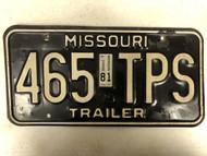 1979 (1981 Tag) MISSOURI Trailer License Plate 465-TPS