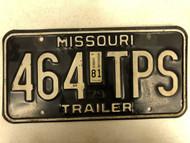 1979 (1981 Tag) MISSOURI Trailer License Plate 464-TPS