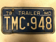 1978 MISSOURI Trailer License Plate TMC-948