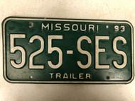 1993 MISSOURI Trailer License Plate 525-SES