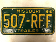1986 MISSOURI Trailer License Plate 507-RFF