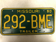 1990 MISSOURI Trailer License Plate 292-BME