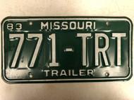 1983 MISSOURI Trailer License Plate 771-TRT