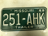 1989 MISSOURI Trailer License Plate 251-AHK