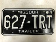 1984 MISSOURI Trailer License Plate 627-TRT