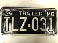 1976 MISSOURI Trailer License Plate TLZ-031
