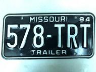 1984 MISSOURI Trailer License Plate 578-TRT