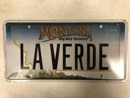 Expired MONTANA Big Sky Country License Plate LA VERDE Green Spanish Mountain Range