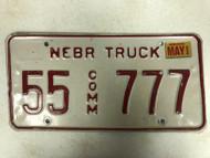 2002 Tag NEBRASKA Thurston County Commercial Truck License Plate 55-777