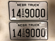 Expired NEBRASKA Adams County Commercial Truck License Plate 14-9000 PAIR