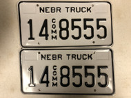 Expired NEBRASKA Adams County Commercial Truck License Plate 14-8555 PAIR