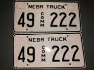 Expired NEBRASKA Howard County Commercial Truck License Plate 49-222 PAIR