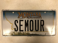 Expired MONTANA Big Sky Country License Plate SEMOUR Mountain Range