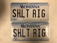 2000 MONTANA Big Sky License Plate SHLT-RIG Sh*t Rig Cow Skull PAIR