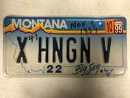 "1999 Tag MONTANA Big Sky License Plate X-HNGN-V ""Hanging"" Cow Skull"
