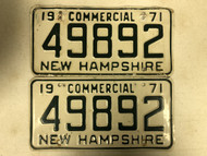 1971 NEW HAMPSHIRE Commercial License Plate 49892 PAIR