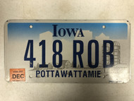 2006 Tag IOWA Pottawattamie County License Plate 418-ROB Rob Robert Bob Silo Farm City Silhouette