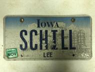 2009 Tag IOWA Lee County License Plate SCHILL Silo Farm City Silhouette