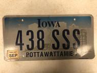 2007 Tag IOWA Pottawattamie County License Plate 438-SSS Cool # Farm Silo City Silhouette