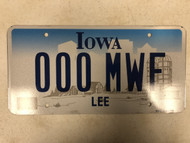 Expired IOWA Lee County License Plate 000-MWF Monday Wednesday Friday Cool # Farm Silo City Silhouette