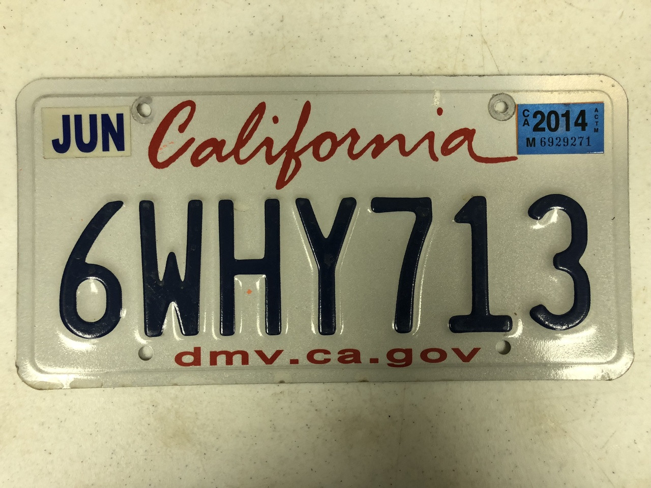 2014 Tag CALIFORNIA dmv   ca   gov License Plate 6WHY713 Why State DMV  Website