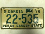 1974 NORTH DAKOTA Peace Garden State License Plate 22-535