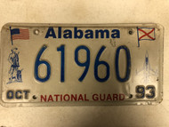 1993 ALABAMA Natonal Guard License Plate 61960 Jet Plane Soldier American Flag Alabama Flag