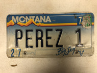 Expired MONTANA Big Sky License Plate PEREZ-1 Perez Cow Skull