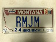 1976 (1991 Tag) MONTANA Big Sky '76 Bicentennial License Plate RMJM Cow Skull