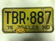 1975 MISSOURI Trailer License Plate TBR-887 & 1975 St. Louis Trailer Tab 179