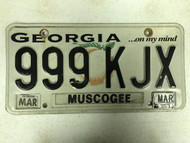 2014 Tag GEORGIA ...On MY Mind Muscogee County License Plate 999-KJX Peach