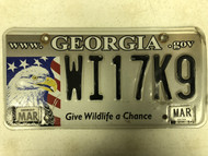 2014 Tag Georgia Give Wildlife A Chance State Website www. georgia. gov License Plate WI17K9 Bald Eagle American Flag