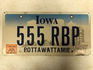 July 2006 Tag IOWA Pottawattamie County License Plate 555-RBP Farm Silo City Silhouette