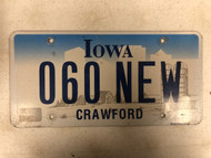 Expired IOWA Crawford County License Plate 060-NEW Farm Silo City Silhouette