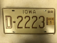 1988 IOWA Dealer License Plate D-2223