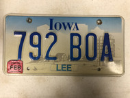 February 2008 Tag IOWA Lee County License Plate 792-BOA Boa Snake Farm Silo City Silhouette