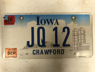September 2005 & 06 Tags IOWA Crawford County License Plate JQ-12 Farm Silo City Silhouette