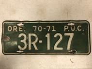 1970-1971 OREGON Public Utility Commission License Plate 3R-127