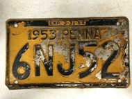 1953 Expiraton 3-31-54 PENNSYLVANIA PENNA License Plate 6NJ52