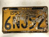 1953 Expiraton 3-31-54 PENNSYLVANIA PENNA License Plate 6NJ52