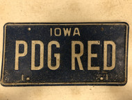 Expired IOWA License Plate PDG-RED Red