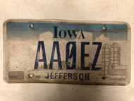 Expired IOWA Jefferson County License Plate AAØEZ Farm Silo City Silhouette