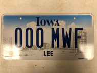 Expired IOWA Lee County License Plate 000-MWF Monday Wednesday Friday Farm Silo City Silhouette