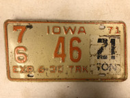 1971 Expires 6-30 IOWA Pocahontas County 21 Ton Tag Truck License Plate 76-46