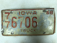 1968 IOWA Polk County Truck License Plate 77-6706