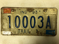 Expires February Tag 1993 INDIANA Trailer 3 Marion County Tag License Plate 10003A