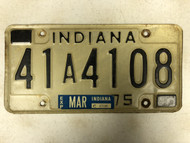 March Tag 1975 INDIANA Johnson County License Plate 41A-4108