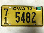 1972 (1973 Tag) IOWA O'Brien County License Plate 71-5482